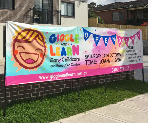 Open Day Banner for Giggle and Learn
