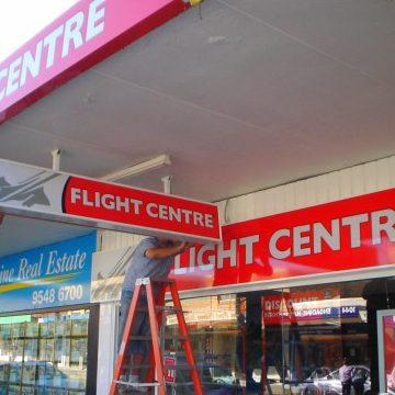 shop front signs for flight centre