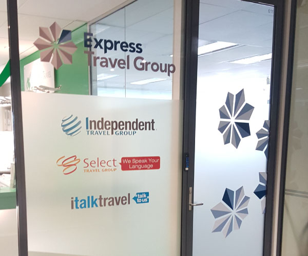 Office Window Decals for Express Travel Group