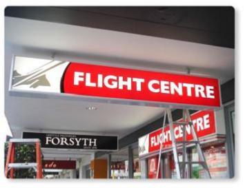 flight centre under awning light box