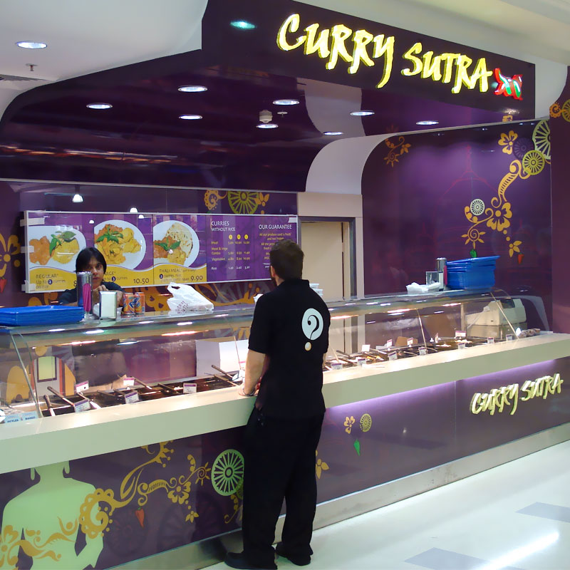 Shopping centre sign fitout for Curry Sutra